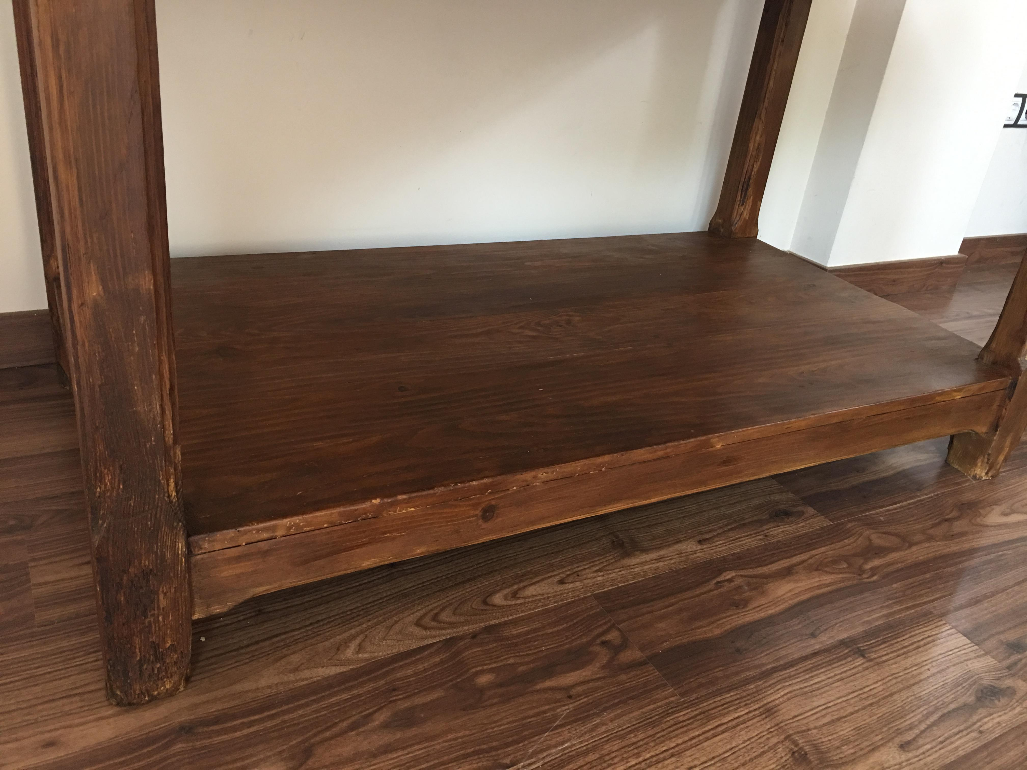 Marvelous 20th Century Pine Kitchen Table, Country Farm Table With Two Drawers    Image 8 Of