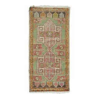 Shabby Chic Mint Green Turkish Rug Mat, 1'8'' x 3'3''