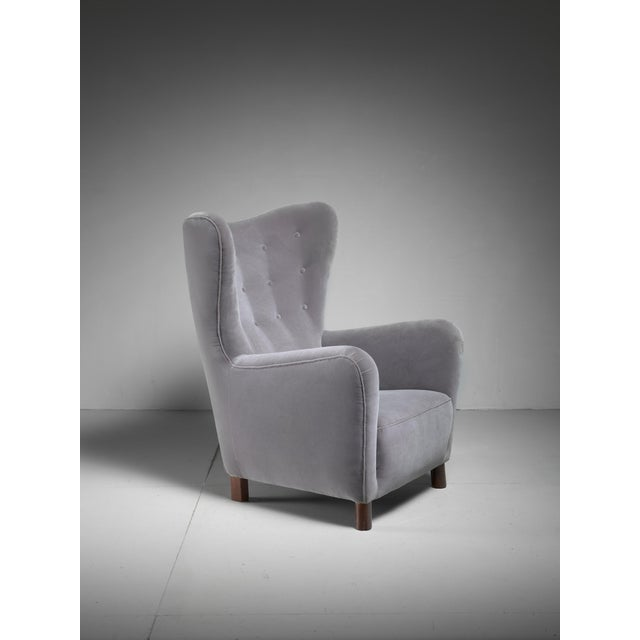 Fritz Hansen High Wingback Grey Velour Lounge Chair, Denmark, 1940s - Image 2 of 5