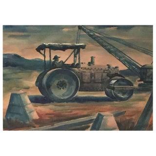 "Paul Meltsner ""Tractor"" watercolor"
