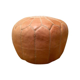 Leather Pouf Ottoman in Nude