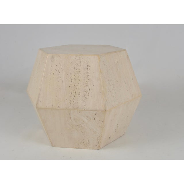 Travertine Marble Polygon Cocktail Table - Image 5 of 6