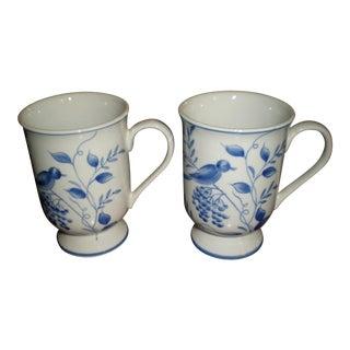 Floral Bird Coffee Mugs - A Pair