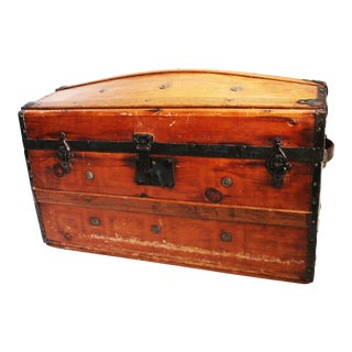 Vintage Victorian Wood & Metal Banded Steamer Trunk