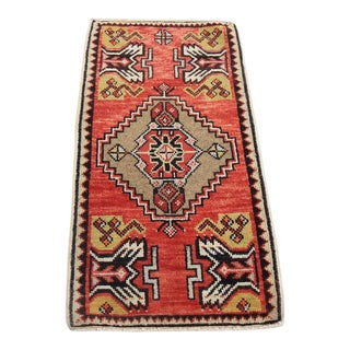 "Vintage Turkish Oushak Tribal Rug- 1'7"" x 3'1"""