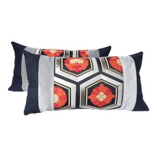 Vintage Gray & Orange Japanese Pillows - A Pair
