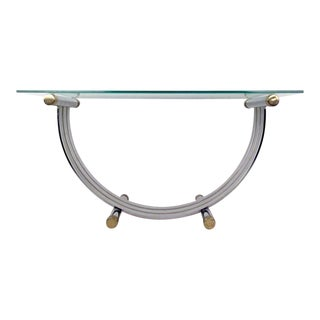 Vintage Modern Chrome and Brass Coffee Table