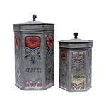 Image of Antique Art Nouveau Coffee & Cocoa Tins - A Pair