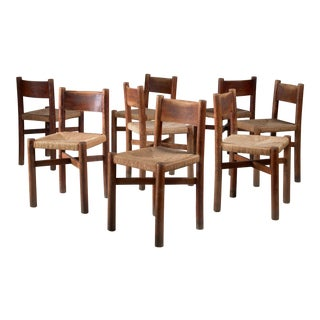 Charlotte Perriand set of 8 oak Courchevel dining chairs, France, 1940s