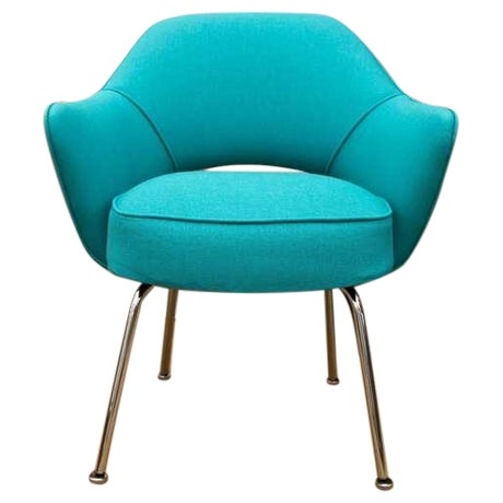 Saarinen Executive Armchair, Turquoise Microfiber - Image 1 of 2