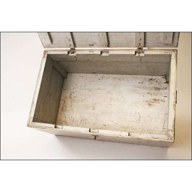 Vintage Industrial Wood Gray Military Storage Chest - Image 9 of 11