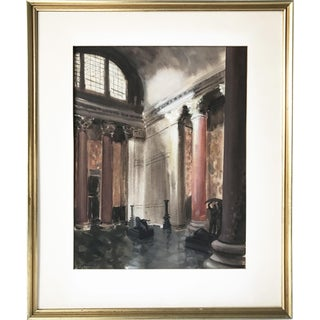 A.J. Broder 1940s Interior Watercolor