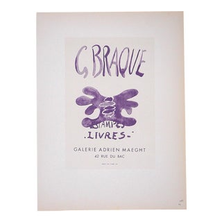 Vintage Mid Century Color Lithograph-Georges Braque-Printed By Mourlot