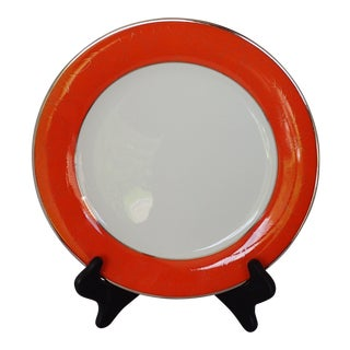 Elegant Fine China Orange & Silver Charger/Dinner Plate