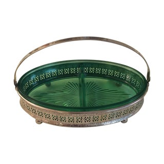 Vintage Silver & Emerald Serving Dish
