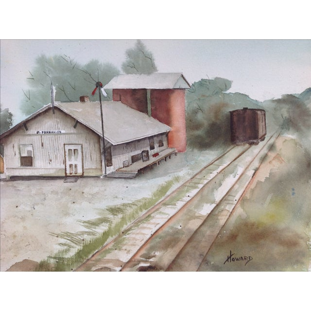 Watercolor of a Train Station - Image 5 of 5