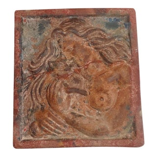 Early & Rare Original Painted Terracotta Plaque Of Lady & Cat