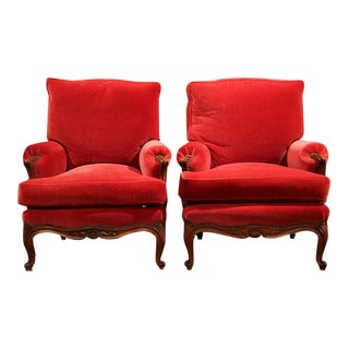 19th C French Louis XV Carved Walnut & Red Velvet Armchairs - A Pair