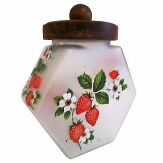 Vintage Frosted Glass Strawberries Canister