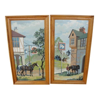 Mid-Century Colonial Horses Paintings - A Pair