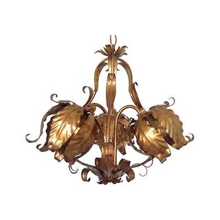1950s Italian Gilt Tulips Chandelier
