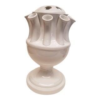 Italian Pottery White Urn Shaped ClassicTulipiere Vase