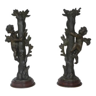 Antique Bronze Cherub Candle Holders - A Pair