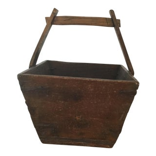 Antique Asian Rice Bucket with Handles