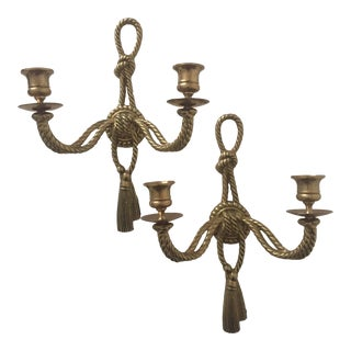 Vintage Neoclassical Brass Candle Sconces - S/2