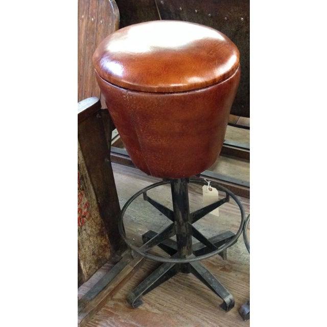 Round Leather Bar Stool - Image 2 of 2