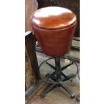 Image of Round Leather Bar Stool