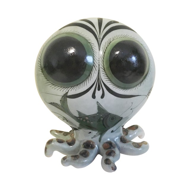 Image of Hand Painted Mexican Pottery Octopus Statue