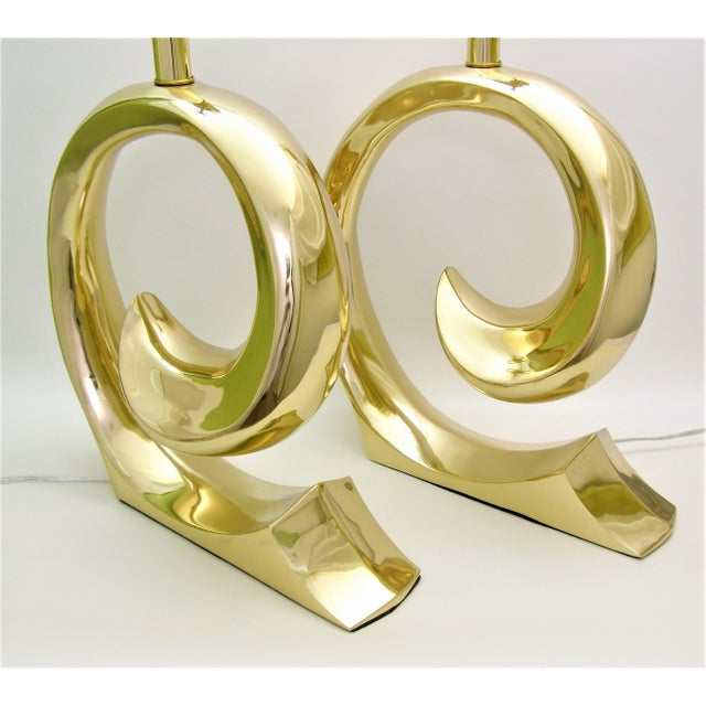Restored Pierre Cardin Mid-Century Modern Solid Brass Logo Designer Lamps - a Pair Millennial - Image 7 of 11