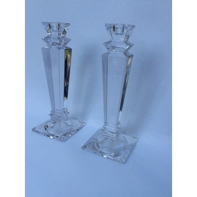 Tiffany Square Crystal Candlesticks - Pair - Image 2 of 3