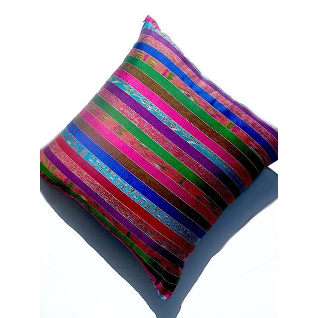 Silk Ikat Multi Stripe Floor Pillow - Image 2 of 7