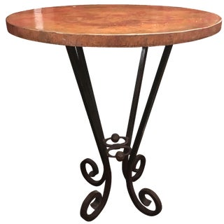 Vintage Copper-Top Bar Table