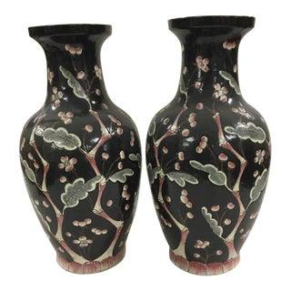 Vintage Chinese Peach Blossom Motif Black Vase