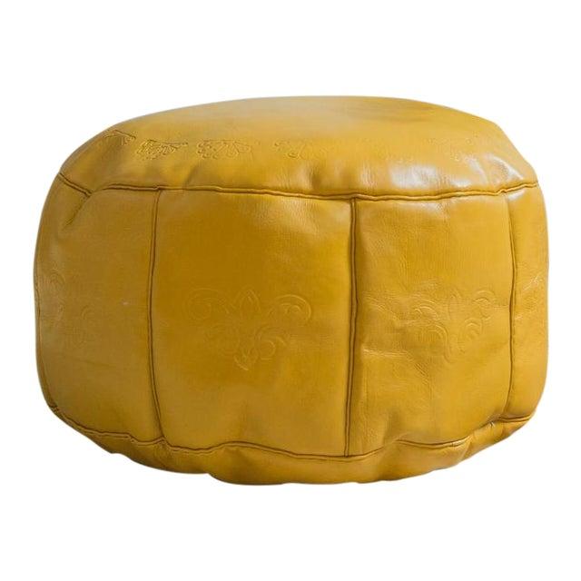 Antique Revival Mustard Leather Pouf Ottoman Chairish