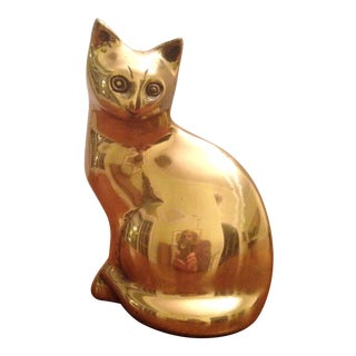 Large Vintage Brass Cat