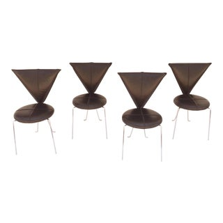 Black Leather and Chrome Chairs by Helmut Lubke & Co - Set of 4
