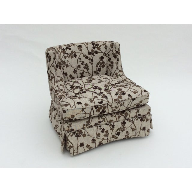 Mid-Century Patterned Slipper Chair and Ottoman - Image 3 of 6