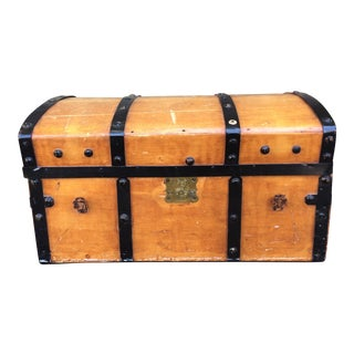Antique Wooden Trunk With Black Metal Detailing