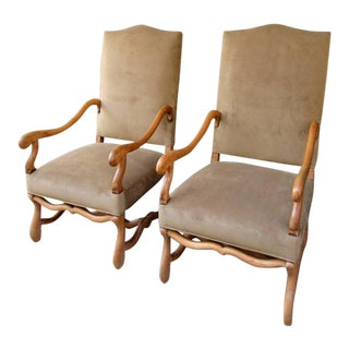 Pair of 19th Century French Louis XIII Fruitwood Armchairs with New Upholstery