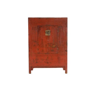 Red And Gilt Antique Chinese Armoire