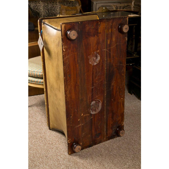Antique English Distressed Leather & Wood Trunk - Image 8 of 9