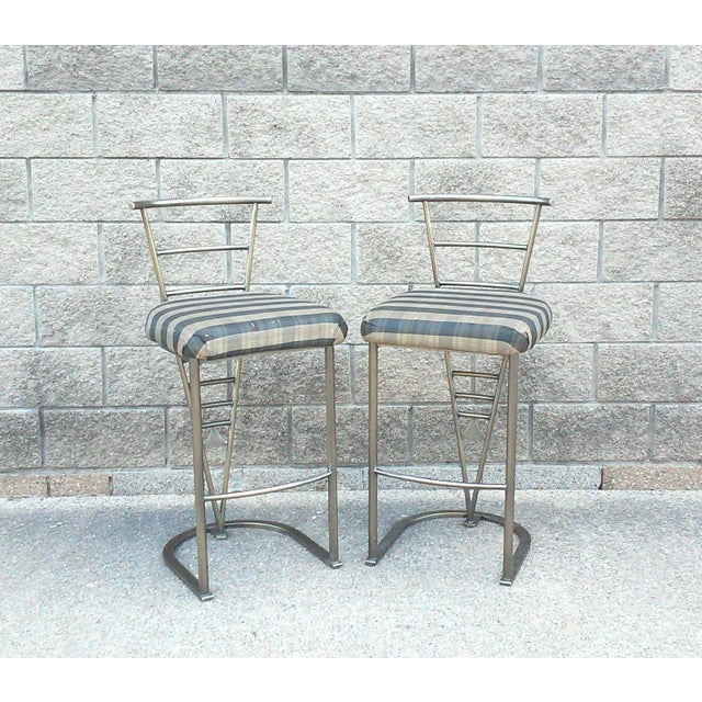 Milo Baughman Bar Stools -- A Pair - Image 2 of 10