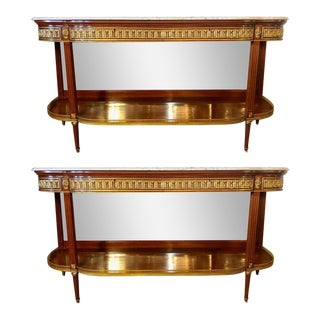 Palatial Louis XVI Jansen Style Console Tables or Sideboards - a Pair