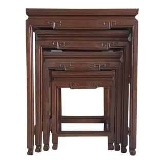 Suite of Chinoiserie Style Wood Nesting Tables - Set of 4