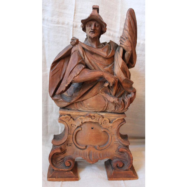 18th C. Wood Figure Carvings - Pair - Image 4 of 10