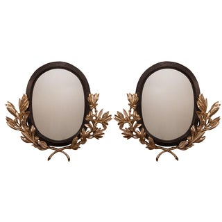 Oval Silver Leaf Mirrors - Pair